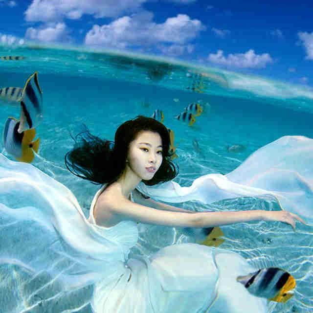 青岛水下婚纱摄影头像图片